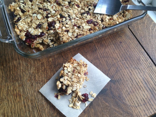 Cranberry Oatmeal Granola Bars with pan