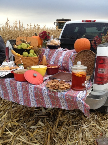 A tailgating party spread