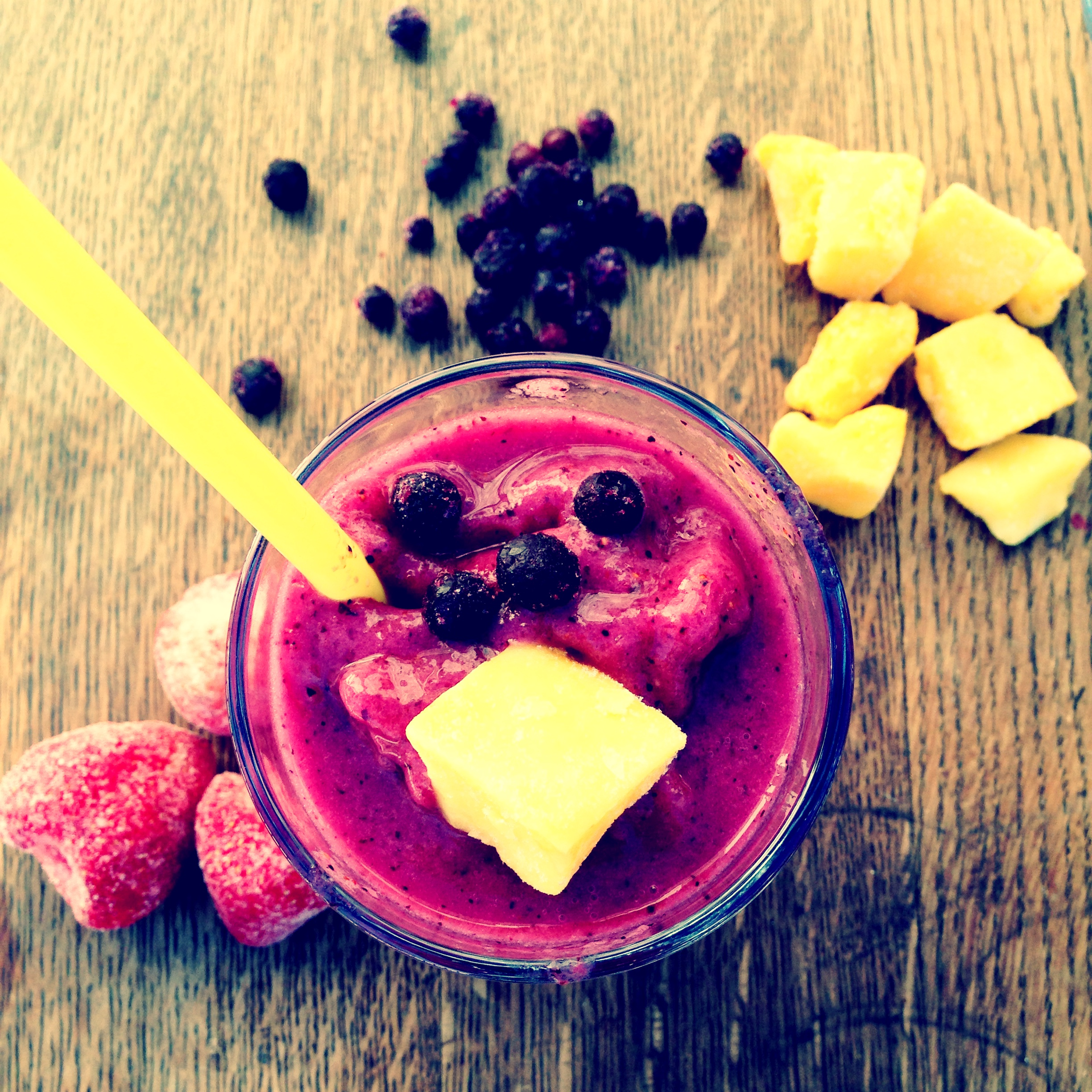 Mango, Strawberry, and Blueberry Smoothie