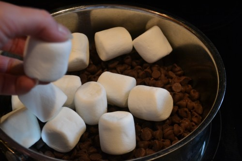 Pour in the marshmallows.