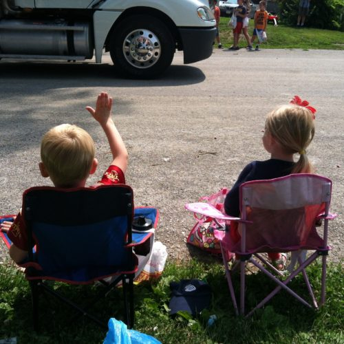Thomas kept up the obedient waving. It paid off!