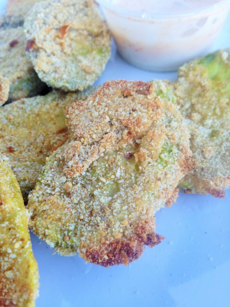 "Baked ""Fried"" Pickles with spicy ranch dipping sauce"