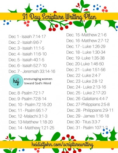 December Scripture Writing