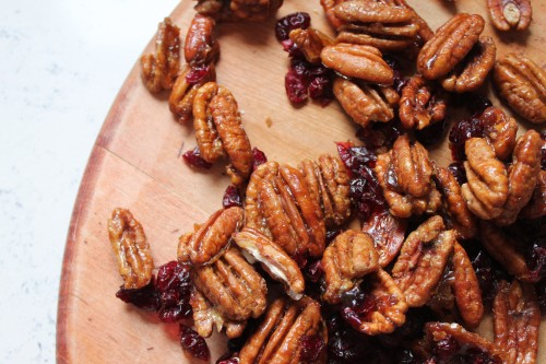 Candied Pecans with Cranberries