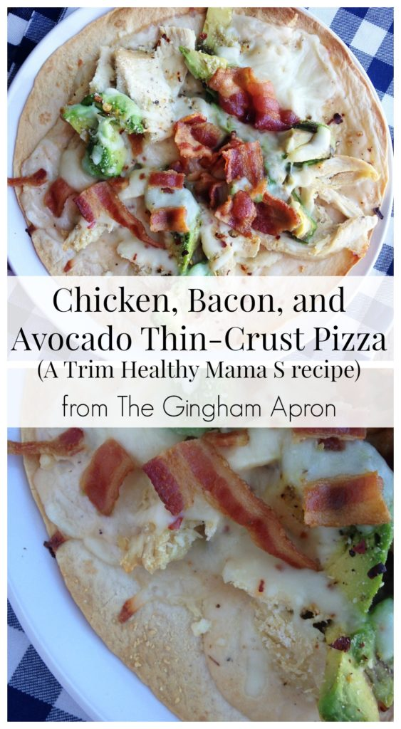 chicken bacon and avocado thin crust pizza and a trim healthy