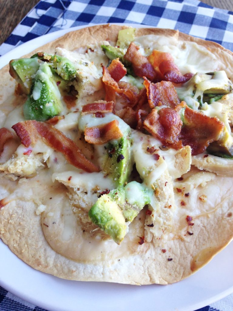 Chicken, Bacon, and Avocado Thin Crust Pizza