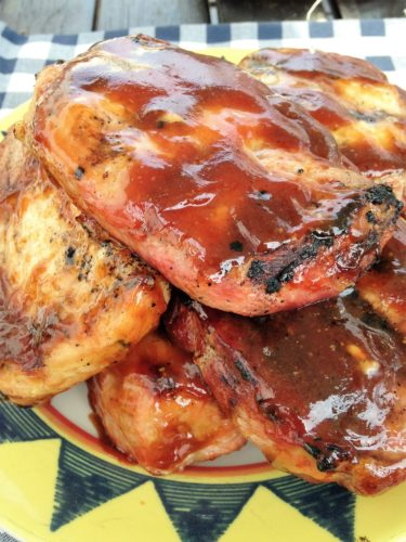 Grilled Pork Chops with Honey Balsamic Barbecue Sauce | The Gingham ...