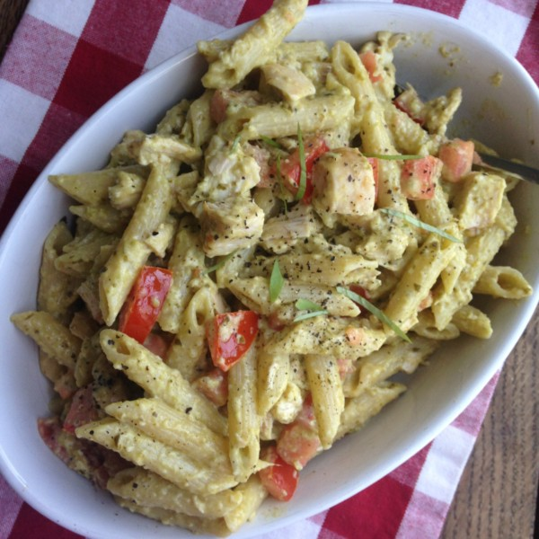 Pesto Pasta with Fresh Tomatoes and Basil