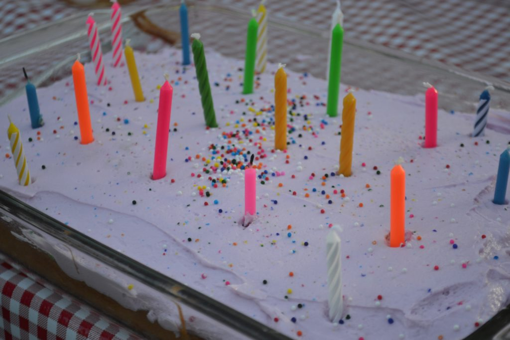 Birthday cake with decorator's frosting