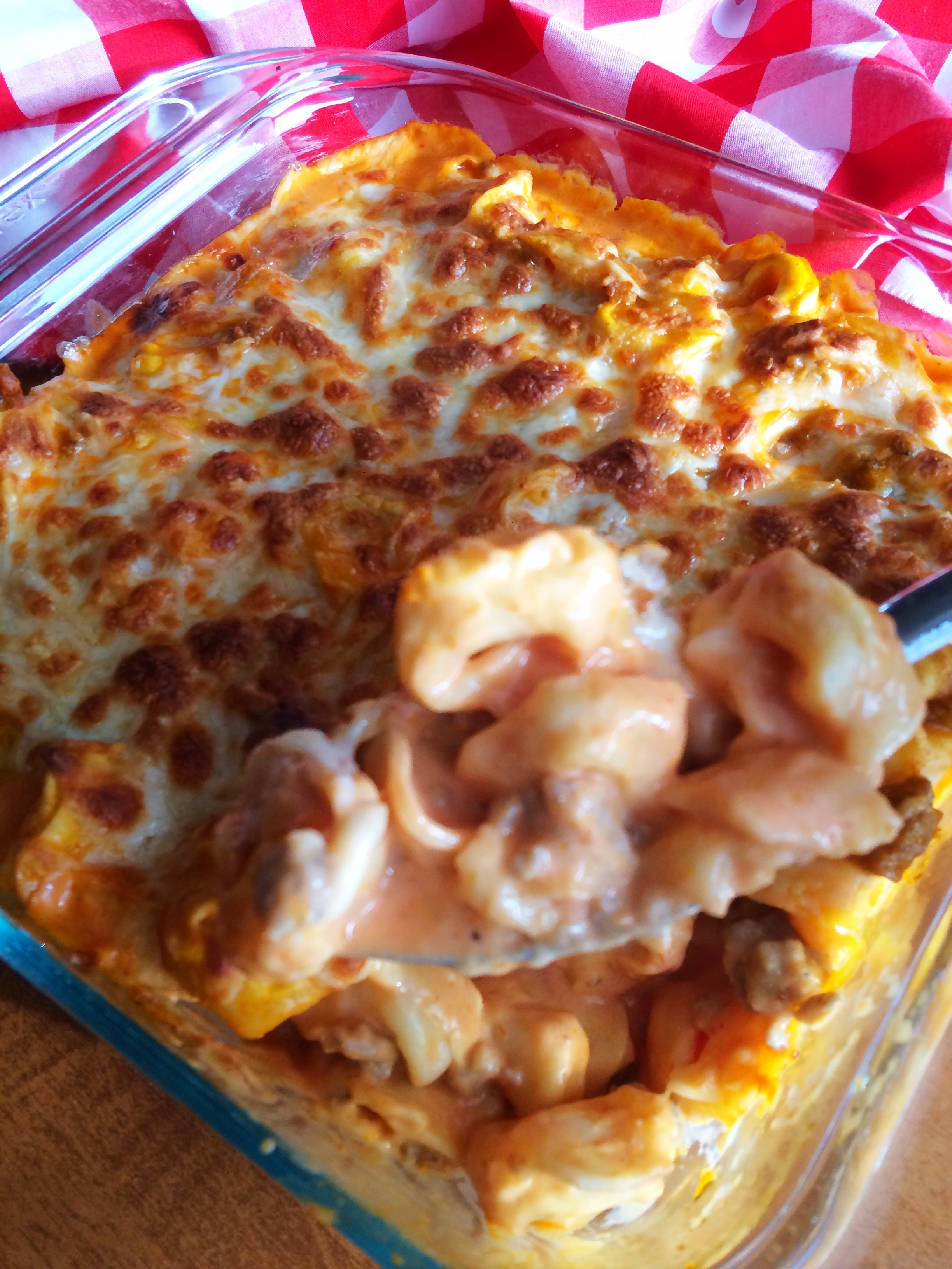 Sausage and cheese tortellni bake