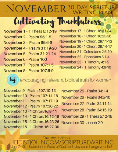 November Scripture Writing