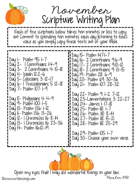 November Scripture Writing Plan from Sweet Blessings