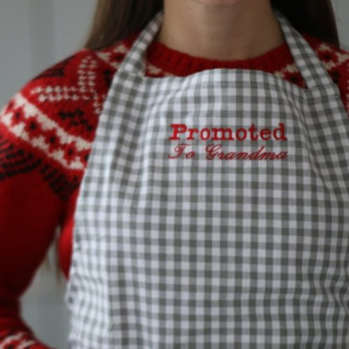 Grey gingham promoted to grandma apron