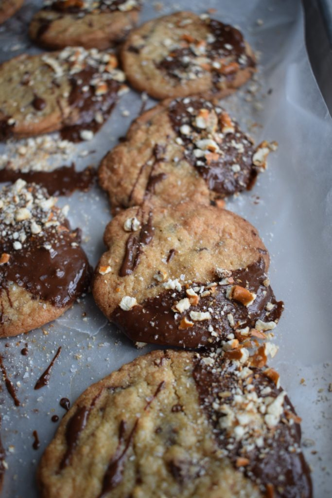 Sea Salt and Pretzel Dipped Chocolate Chip Cookies
